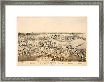 Antique Map Of New Braunfels Texas 1881 Framed Print by Mountain Dreams