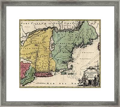 Antique Map Of New England By Johann Baptist Homann - Circa 1760 Framed Print by Blue Monocle