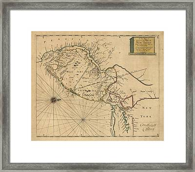 Antique Map Of New Jersey By John Worlidge - 1706 Framed Print