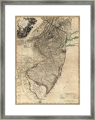 Antique Map Of New Jersey By William Faden - 1778 Framed Print by Blue Monocle
