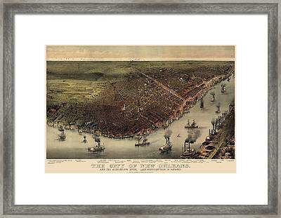 Antique Map Of New Orleans By Currier And Ives - Circa 1885 Framed Print by Blue Monocle