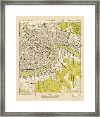 Antique Map Of New Orleans - Usgs Topographic Map - 1932 Framed Print