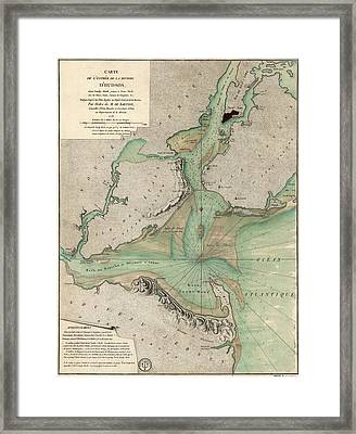 Antique Map Of New York City - 1778 Framed Print by Blue Monocle