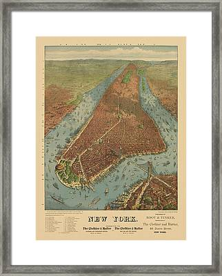 Antique Map Of New York City - 1879 Framed Print
