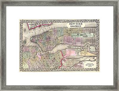 Antique Map Of New York City And Brooklyn 1867 Framed Print by Mountain Dreams