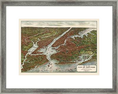Antique Map Of New York City By August R. Ohman - 1907 Framed Print by Blue Monocle
