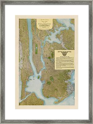 Antique Map Of New York City By C. P. Gray - 1913 Framed Print