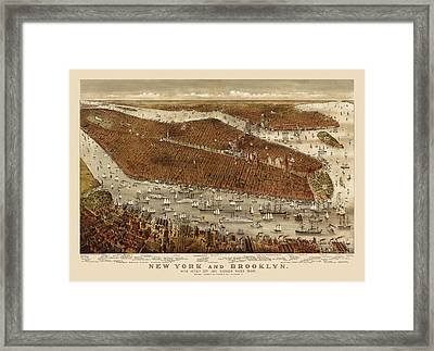 Antique Map Of New York City By Currier And Ives - Circa 1877 Framed Print