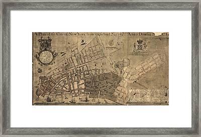 Antique Map Of New York City By Francis W. Maerschalck - Circa 1755 Framed Print