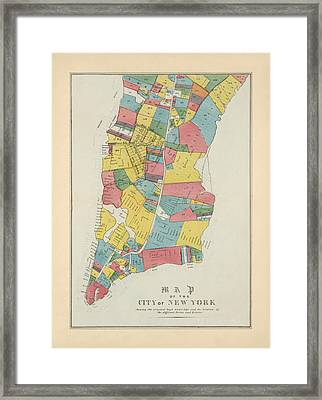 Antique Map Of New York City By George Hayward - 1852 Framed Print