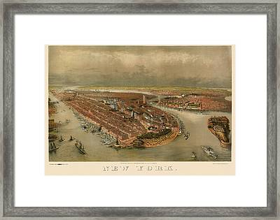 Antique Map Of New York City By George Schlegel - Circa 1874 Framed Print by Blue Monocle