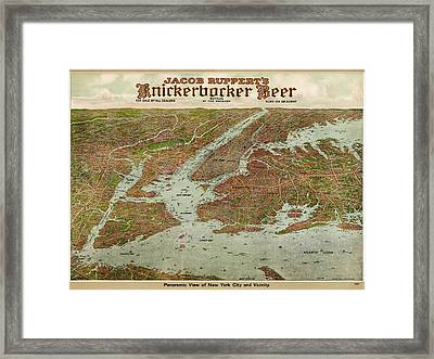 Antique Map Of New York City By Jacob Ruppert - 1912 Framed Print by Blue Monocle