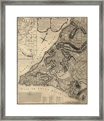 Antique Map Of New York City By John Montresor - 1766 Framed Print
