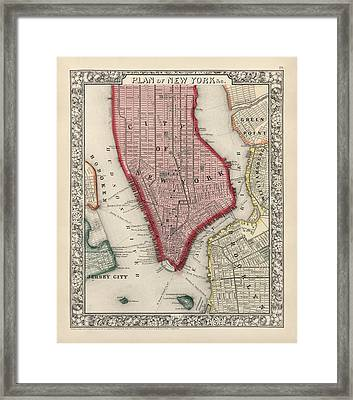 Antique Map Of New York City By Samuel Augustus Mitchell - 1863 Framed Print by Blue Monocle