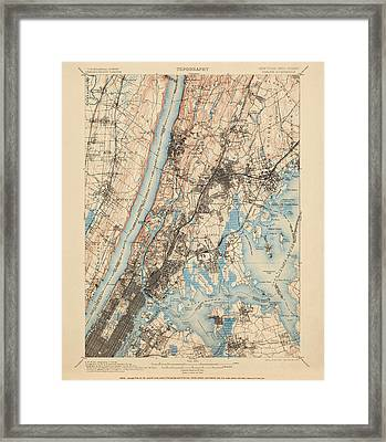 Antique Map Of New York City - Usgs Topographic Map - 1900 Framed Print by Blue Monocle