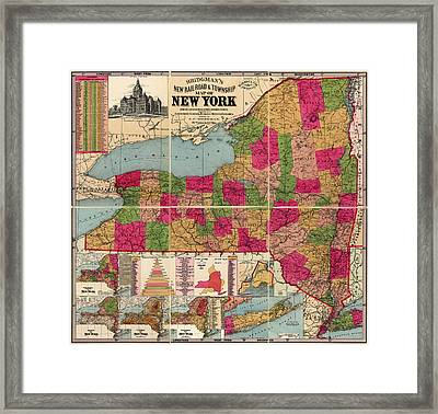 Framed Print featuring the drawing Antique Map Of New York State By E. C. Bridgman - 1896 by Blue Monocle