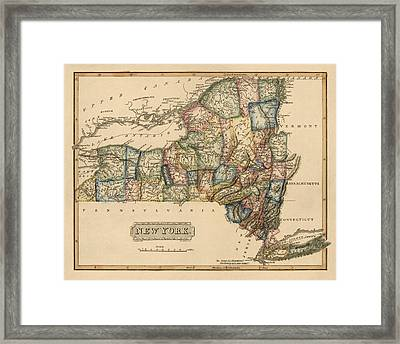 Antique Map Of New York State By Fielding Lucas - Circa 1817 Framed Print by Blue Monocle