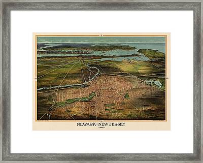 Antique Map Of Newark New Jersey By T. J. Shepherd Landis - 1916 Framed Print