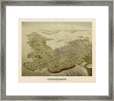 Antique Map Of Newport Rhode Island By Galt And Hoy - 1878 Framed Print by Blue Monocle