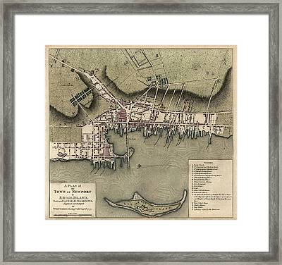Antique Map Of Newport Rhode Island By William Faden - 1777 Framed Print by Blue Monocle