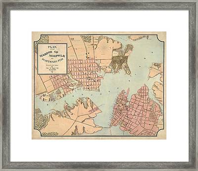 Antique Map Of Norfolk And Portsmouth Virginia By Charles E. Cassell - 1861 Framed Print