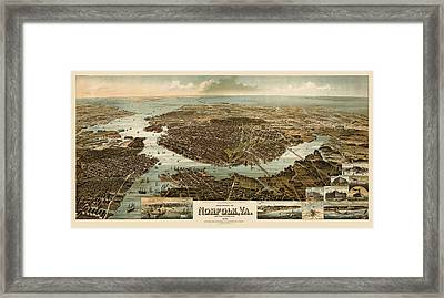 Antique Map Of Norfolk And Portsmouth Virginia By H. Wellge - 1892 Framed Print