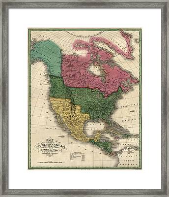 Antique Map Of North America By D. H. Vance - 1826 Framed Print by Blue Monocle
