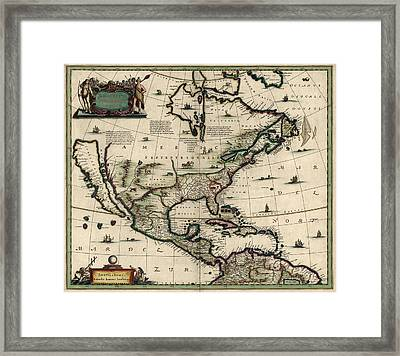 Antique Map Of North America By Jan Jansson - Circa 1652 Framed Print by Blue Monocle