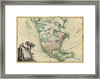 Antique Map Of North America By Jean Janvier - 1762 Framed Print by Blue Monocle