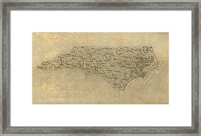 Framed Print featuring the drawing Antique Map Of North Carolina - 1893 by Blue Monocle