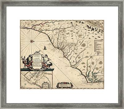 Antique Map Of North Carolina And South Carolina By Joel Gascoyne - 1682 Framed Print by Blue Monocle