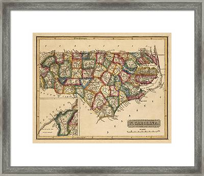 Antique Map Of North Carolina By Fielding Lucas - Circa 1817 Framed Print by Blue Monocle