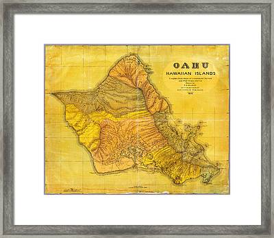 Antique Map Of Oahu Hawaiian Islands Framed Print by Celestial Images