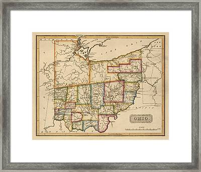 Antique Map Of Ohio By Fielding Lucas - Circa 1817 Framed Print