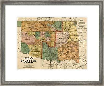 Antique Map Of Oklahoma By Rand Mcnally And Company - 1892 Framed Print by Blue Monocle