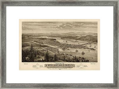 Antique Map Of Olympia Washington By E.s. Glover - 1879 Framed Print by Blue Monocle