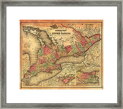 Antique Map Of Ontario Canada 1855 Framed Print