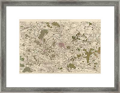 Antique Map Of Paris France By Cesar-francois Cassini - 1789 Framed Print by Blue Monocle