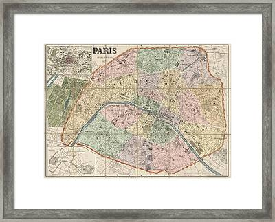 Antique Map Of Paris France By Delagrave - 1878 Framed Print by Blue Monocle