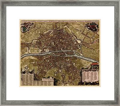 Antique Map Of Paris France By Jacob De La Feuille - Circa 1710 Framed Print by Blue Monocle