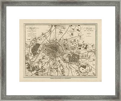 Antique Map Of Paris France By Jos. Lantz - 1805 Framed Print by Blue Monocle