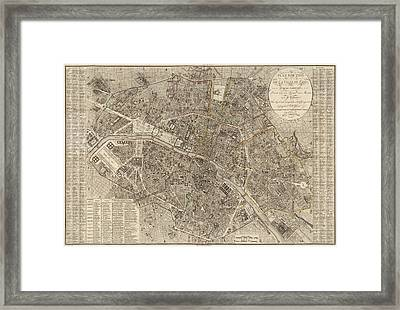 Antique Map Of Paris France By Ledoyen - 1823 Framed Print by Blue Monocle
