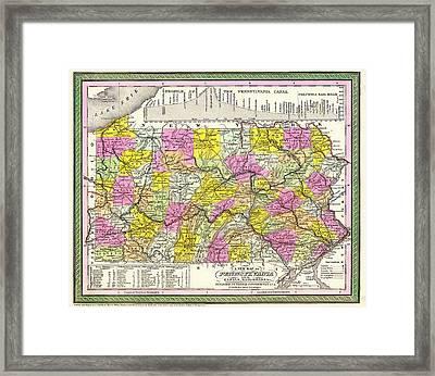 Antique Map Of Pennsylvania Framed Print