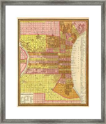Antique Map Of Philadelphia 1846 Framed Print by Mountain Dreams