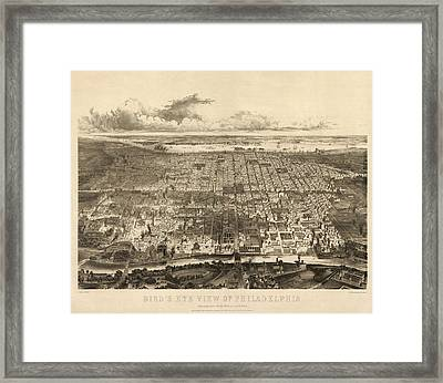 Antique Map Of Philadelphia By John Bachmann - 1857 Framed Print by Blue Monocle