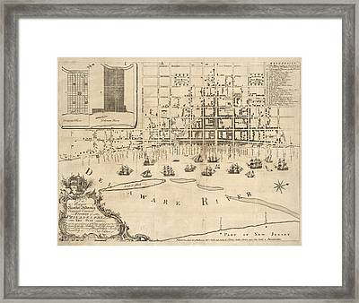Antique Map Of Philadelphia By Nicholas Scull - 1762 Framed Print by Blue Monocle