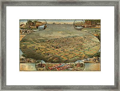 Antique Map Of Phoenix Arizona By C.j. Dyer - Circa 1885 Framed Print by Blue Monocle