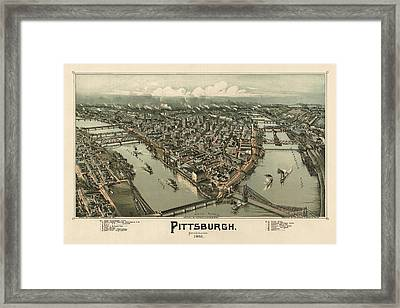 Antique Map Of Pittsburgh Pennsylvania By T. M. Fowler - 1902 Framed Print