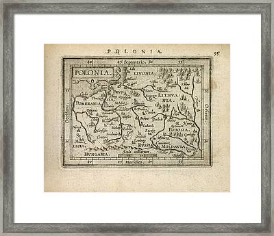 Antique Map Of Poland By Abraham Ortelius - 1603 Framed Print
