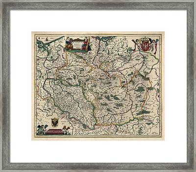 Framed Print featuring the drawing Antique Map Of Poland By Willem Janszoon Blaeu - 1647 by Blue Monocle